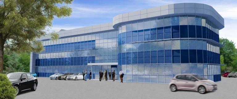 siege social bureaux 3D verre bardage métallique mur rideau