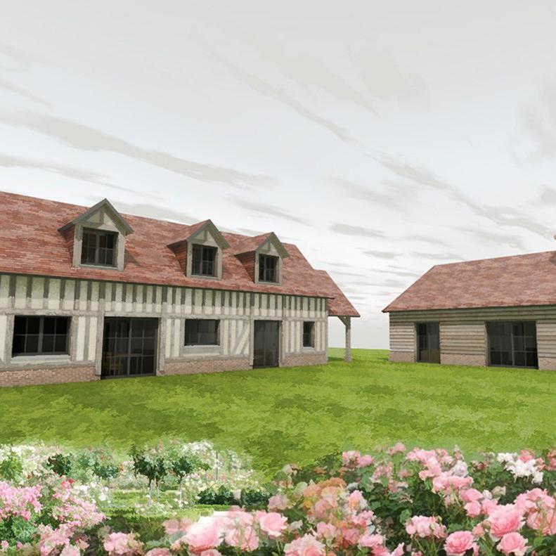 branellec bataille architecte maisons secondaires dépendances colombage bois reux