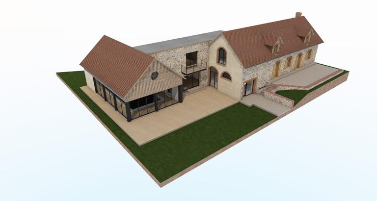 renovation extension agrandissement maison piscine interieure orgeres pays d'auge