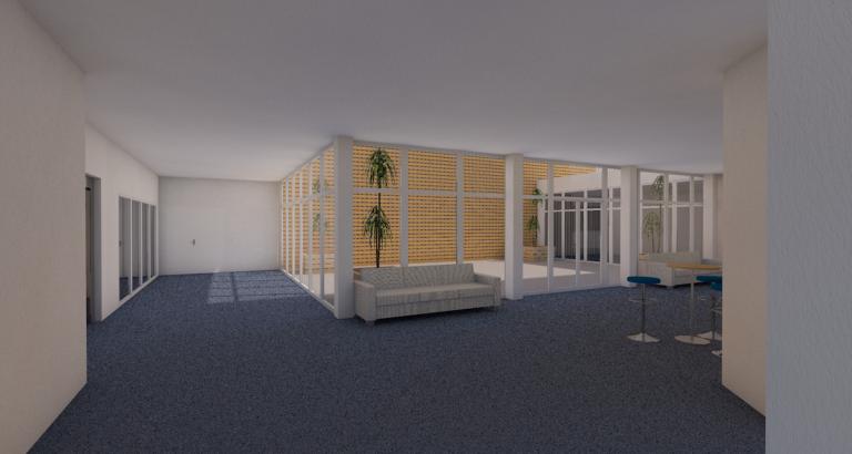 branellec bataille architecte renovation facades batiment bureaux verre mur rideau 3D verberie