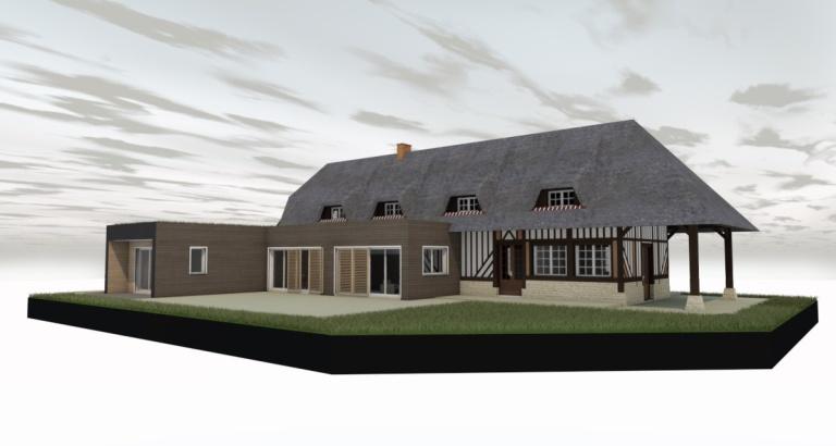 branellec bataille architecte agrandissement extension maison colombage bardage bois chaume vegetalise contemporain saint desir 3D