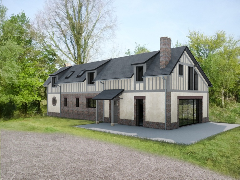 branellec bataille architecte renovation surelevation briques colombages maison clarbec