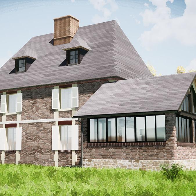 branellec bataille architecte extension maison briques ardoises roques baignard 3D