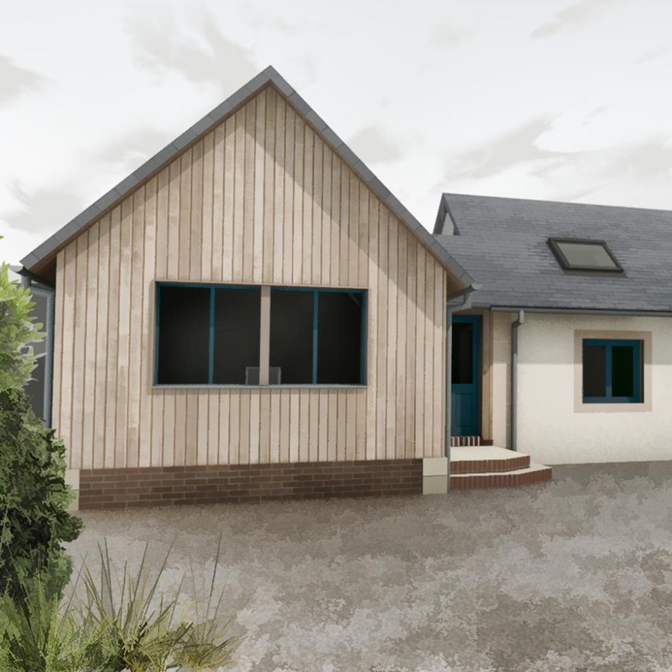 renovation extension agrandissement maison pont l'eveque pays d'auge bois ardoises briques