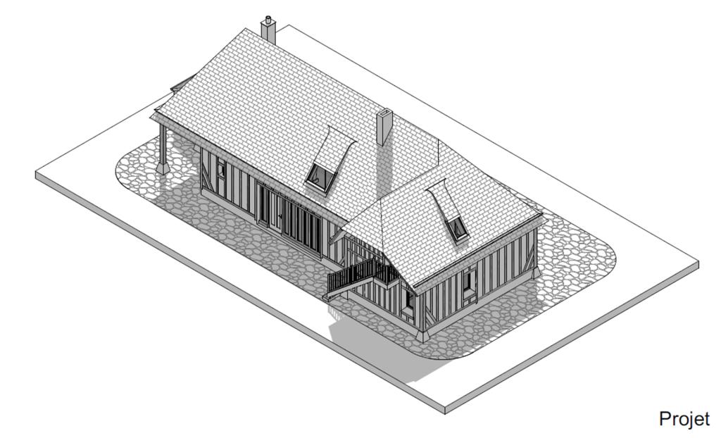 branellec bataille architecte extension maison colombages normande gonneville mer 3D axonometrie