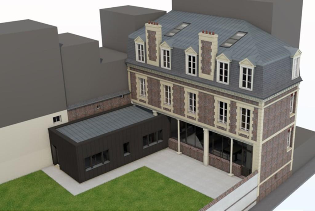 renovation extension transformation maison trouville sur mer briques zinc contemporain