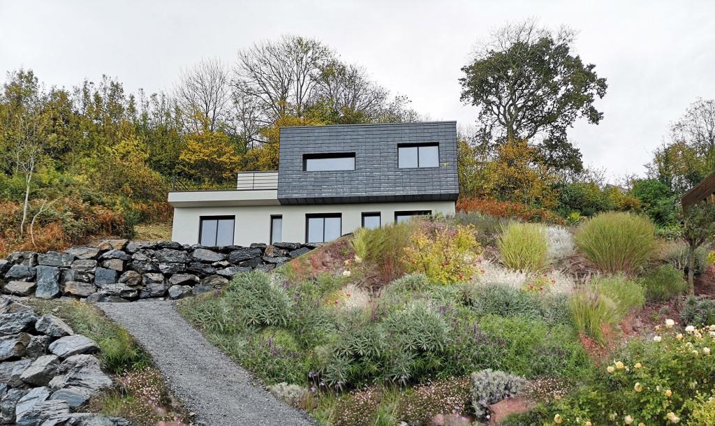 construction maison contemporaine pente trouville sur mer ardoises