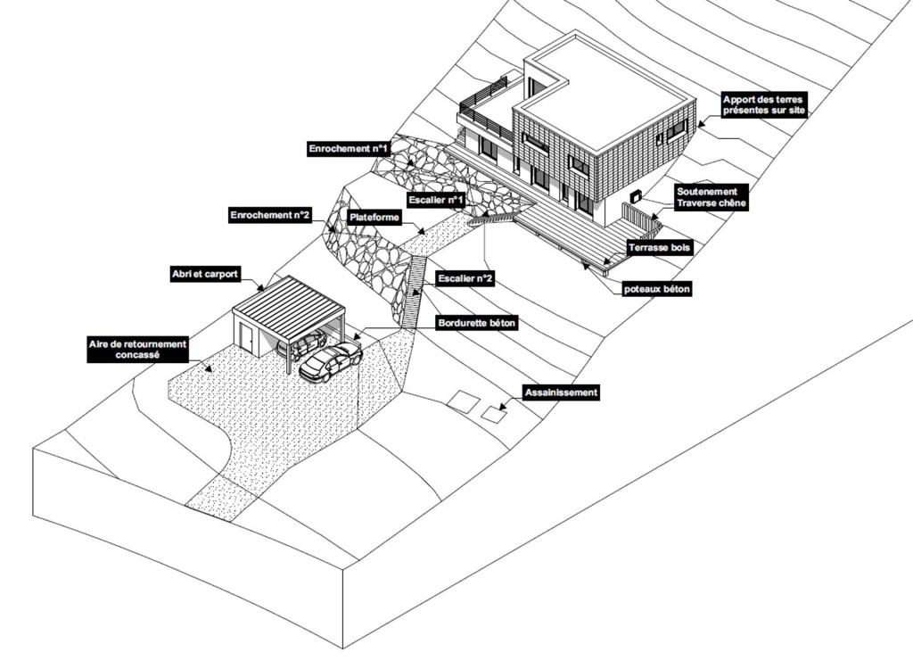 construction maison contemporaine trouville sur mer 3D axonométrie paysage pente
