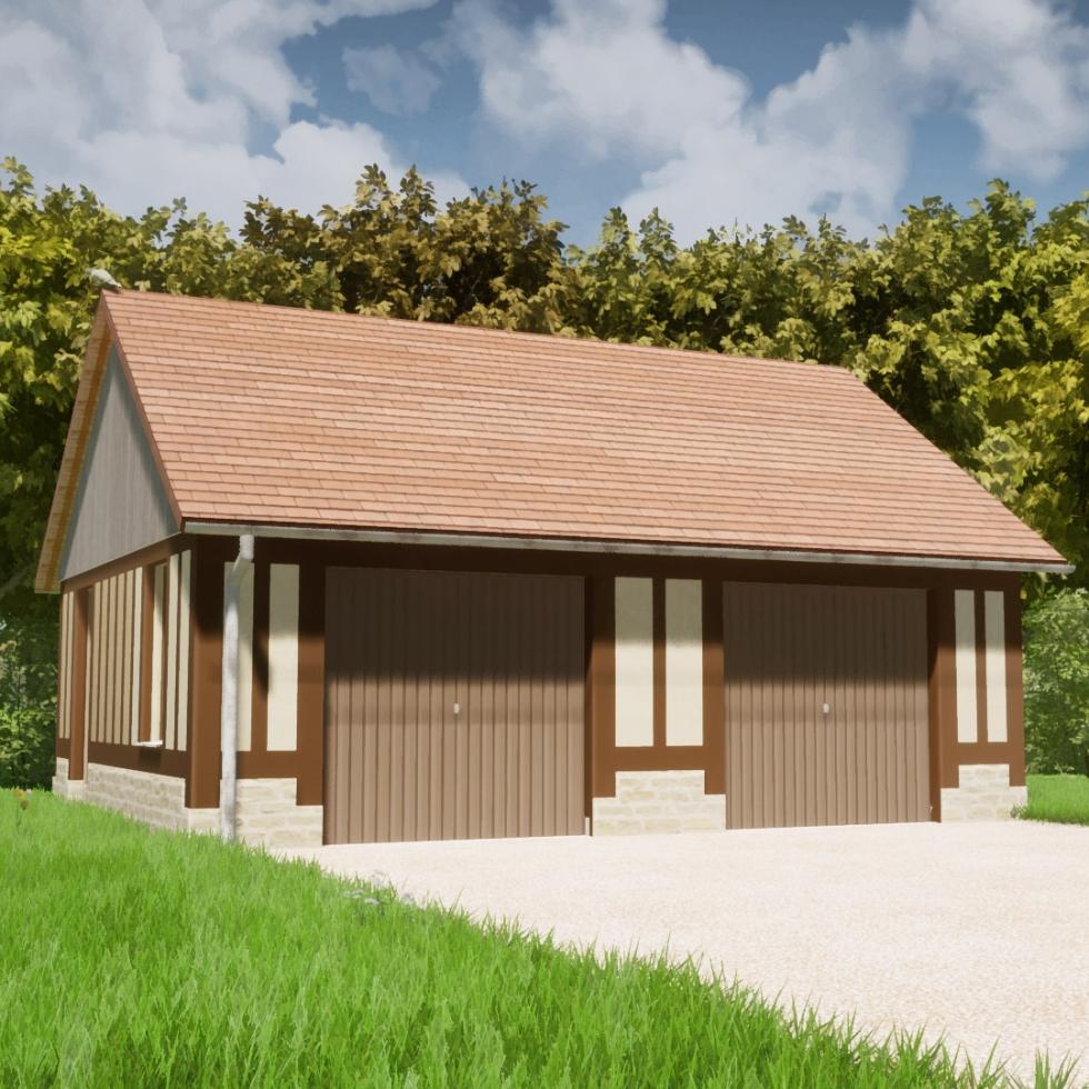 branellec bataille architectes dependance garage glanville colombages tuiles 3D