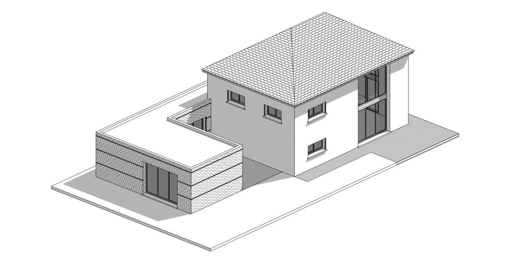 branellec bataille architecte extension maison contemporaine ardoises bois noir danestal 3D