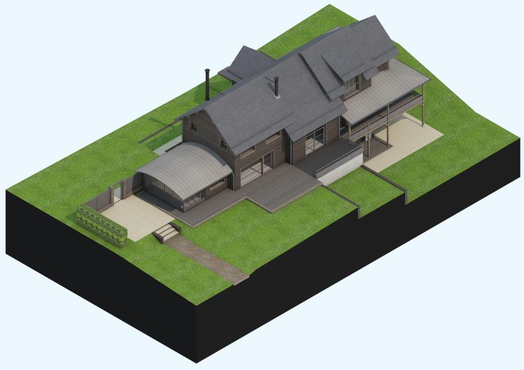 branellec bataille architecte extension maison bois contemporaine touques 3D