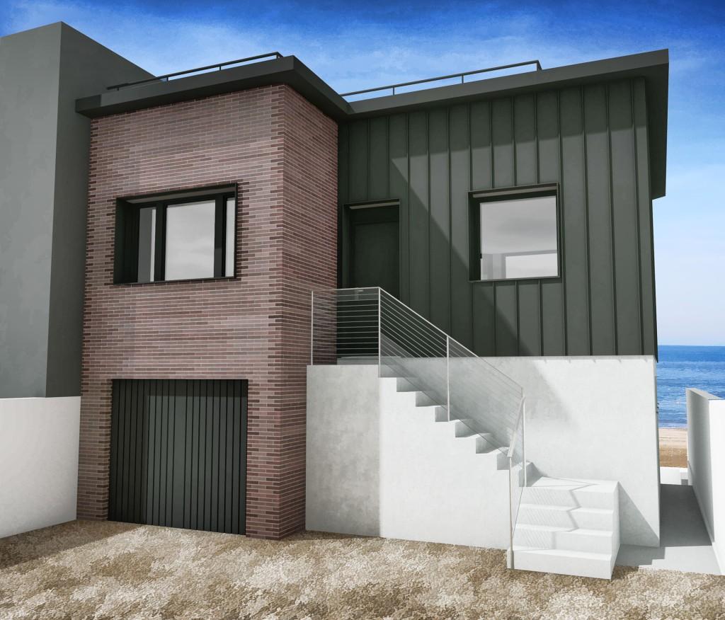 renovation maison blonville briques zinc 3D