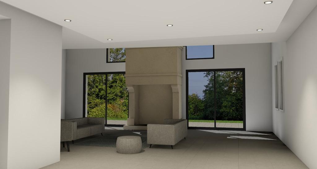 renovation maison facade villers sur mer cheminée 3D